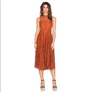 Free people burnt orange lace midi dress